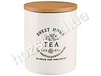 Банка для чая Stenson Глазурь с бамбуковой крышкой 900мл 11,5х11,5х13,6см