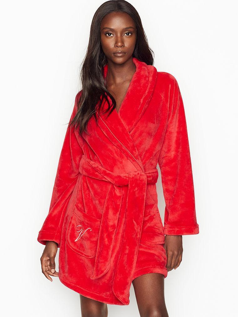 💋 Плюшевый Халат Victoria's Secret Cozy Plush Robe р. XS/S, Красный