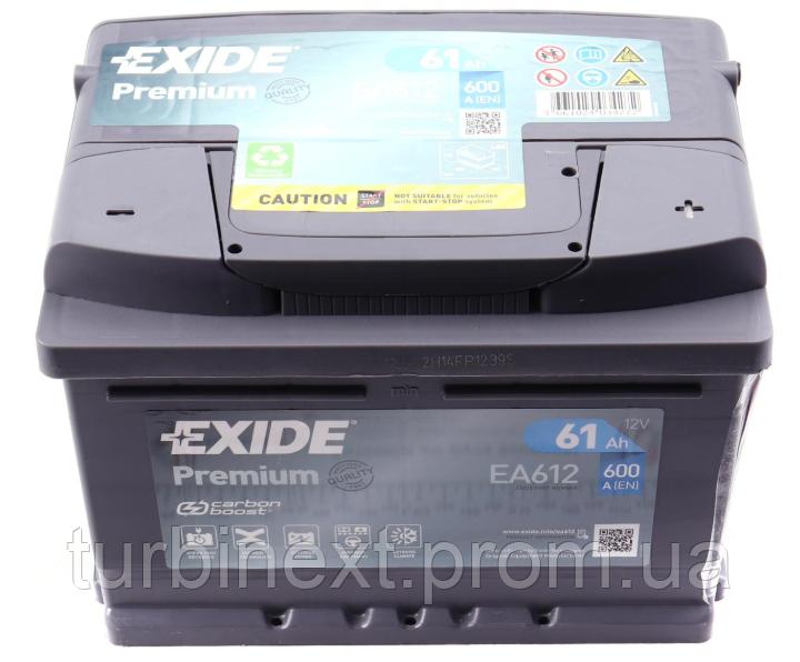 Аккумуляторная батарея 61Ah/600A (242x175x175/+R/B13) Premium EXIDE EA612