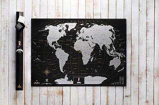 My Map Black Edition SILVER ENG 88х63 см, тубус 71см, открытка, менетка, фетр, кнопки, булавки, стикеры