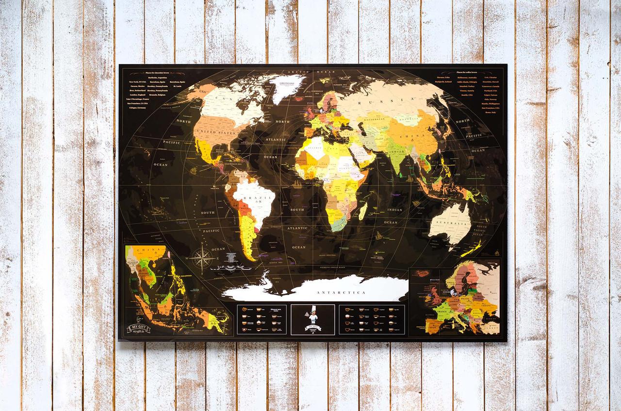 My Map Chocolate Edition ENG 88х63 см, тубус 71 см, открытка, менетка, фетр, кнопки, булавки, стикеры
