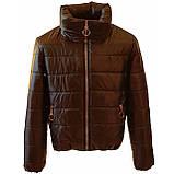 Женская демисезонная куртка дутик однотонная с капюшоном из плащевки черная на весну осень, модель Мира, фото 6