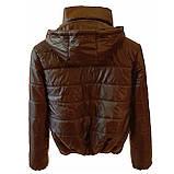 Женская демисезонная куртка дутик однотонная с капюшоном из плащевки черная на весну осень, модель Мира, фото 5