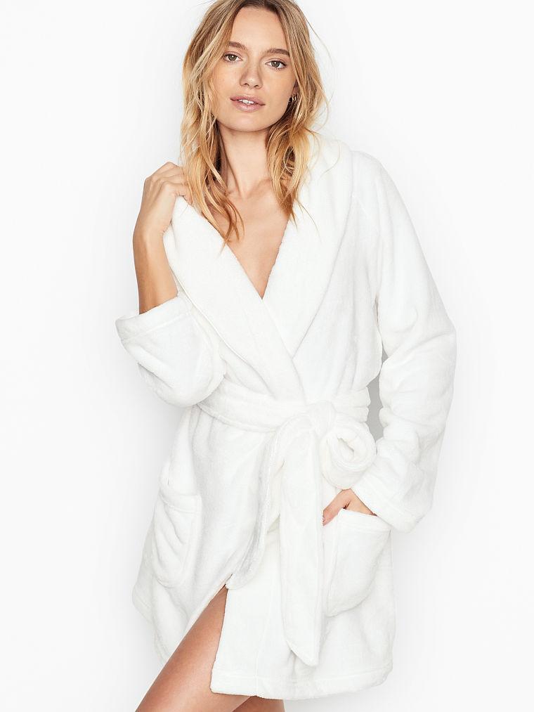 💋 Плюшевый Халат Victoria's Secret Cozy Plush Robe р. XS/S, Айвори