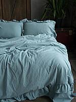 Комплект постельного белья из  вареного хлопка размер евро LIMASSO Mineral blue EXCLUSIVE