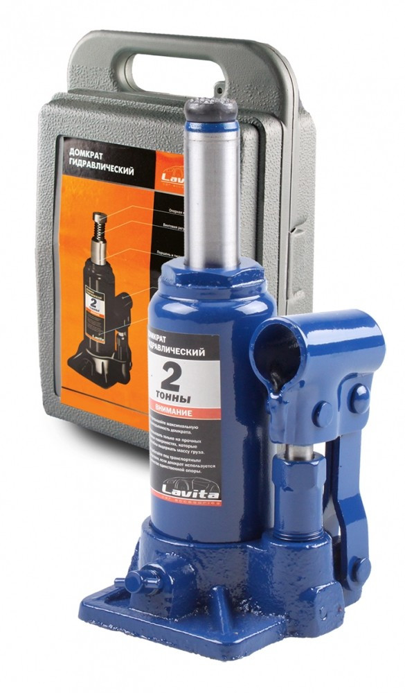Домкрат гидравлический бутылочного типа 2т. 148-278мм в пластиковом кейсе Lavita LA JNS-02PVC