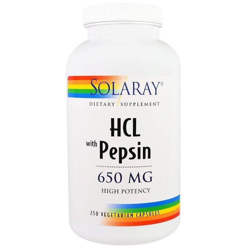 "Бетаин HCL + Пепсин SOLARAY ""HCL with Pepsin"" высокоусвояемый, 650 мг (250 капсул)"