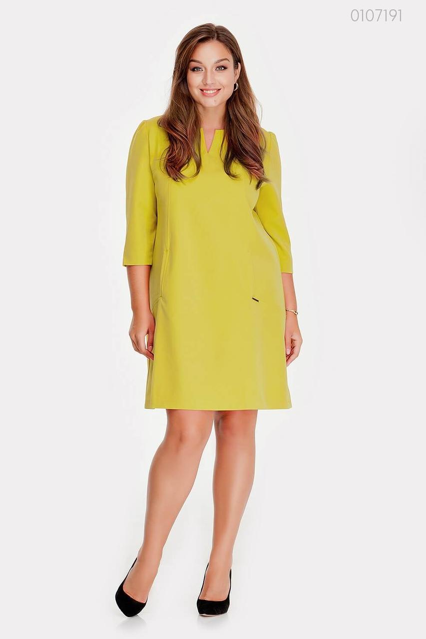 Желтое платье миди Касабланка - 1  (лайм)