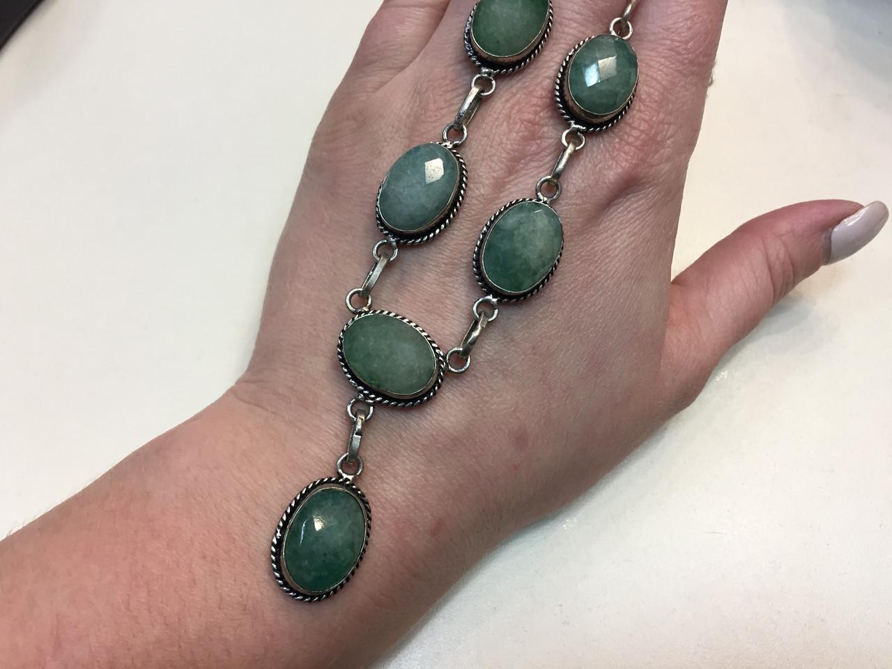 Ожерелье с камнем изумрудный кварц в серебре. Изумрудный кварц колье с кварцем Индия!