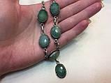 Ожерелье с камнем изумрудный кварц в серебре. Изумрудный кварц колье с кварцем Индия!, фото 3