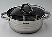 Набор кастрюль из нержавеющей стали 12 пр. 5-слойным дном Benson (2.1 , 2.1,  2.9 , 3.9, 6,5 л.)с сковородой, фото 4
