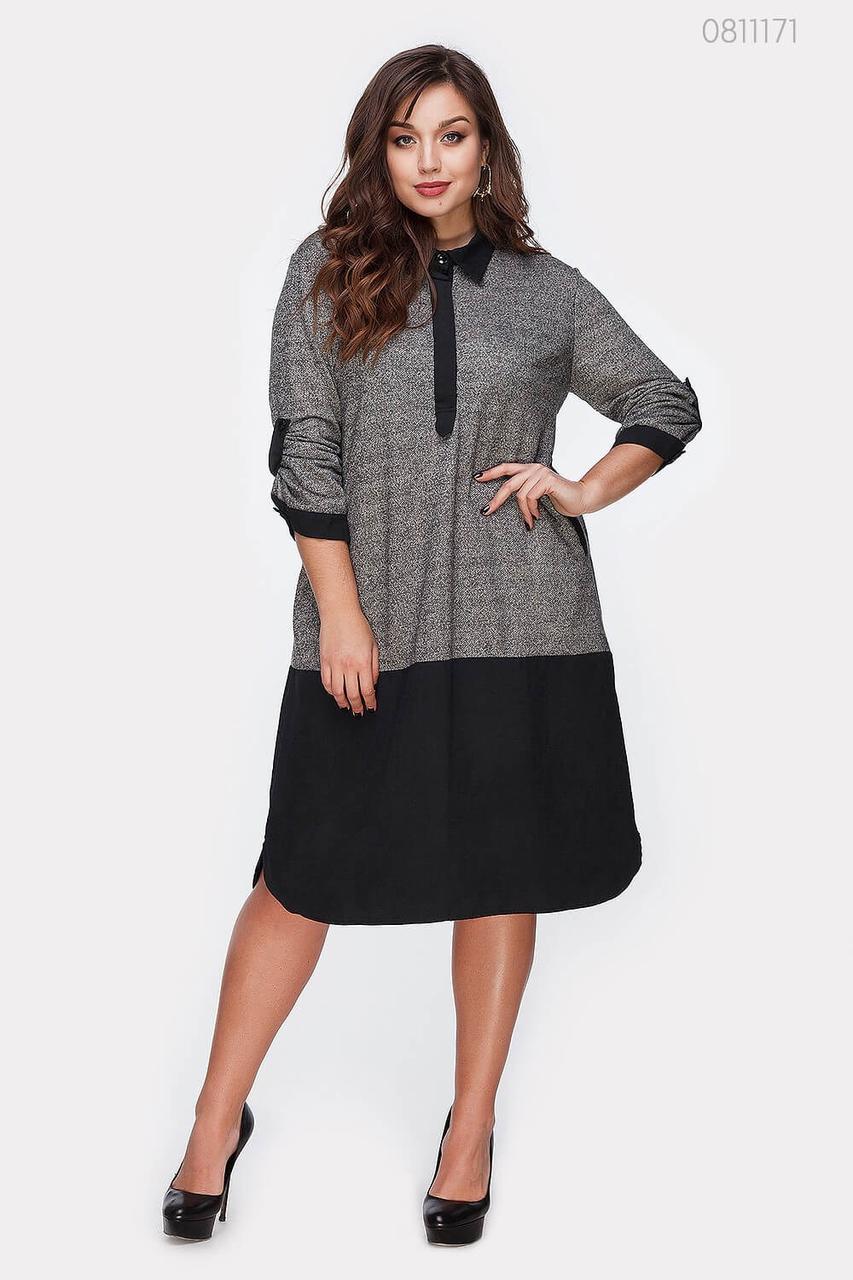 Двухцветное платье Аннаба (серый)
