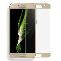 Защитное стекло 3D Full Cover для Samsung A7 (2016) SM-A710 Gold (Screen Protector 0,3 мм)