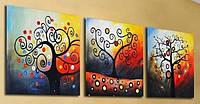 Картины по номерам 50х150 см. Триптих Дерево счастья