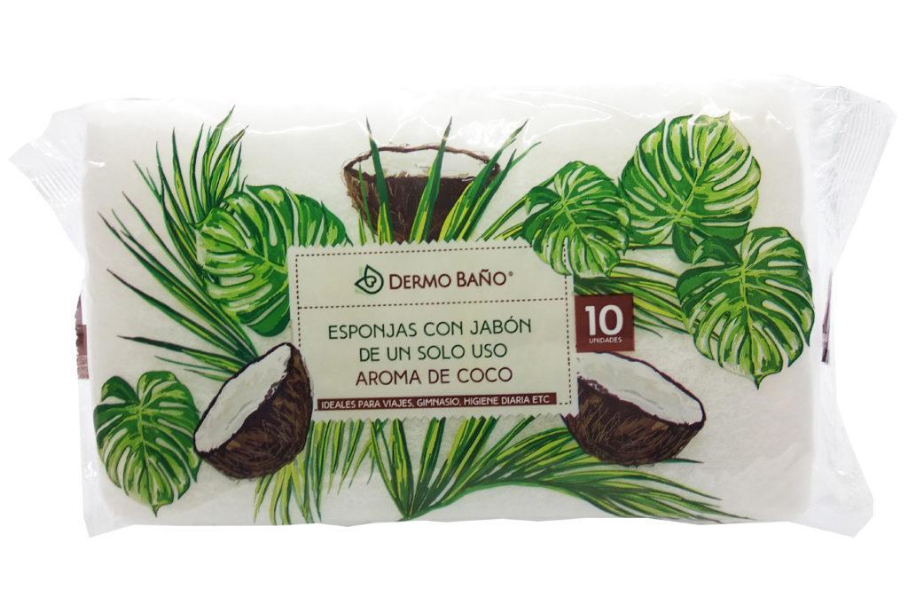 Одноразові пінні губки для особистої гігієни Jalsosa Dermo bano, 10 шт, запах кокаса