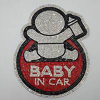 """Наклейка на стекло """"Ребенок в авто"""" со стразами"""