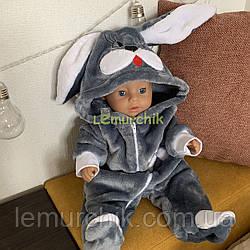 """Человечек детский теплый """"Зайка"""" с капюшоном и ушками (махра), 0-3, 3-6, 6-9 мес серый"""