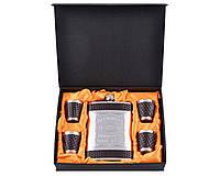 Подарочный набор с Флягой Jack Daniel's Строгий стильный набор для делового мужчины, обтянутый кожей
