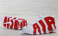 Кроссовки мужские Nike Air More белые с красным Uptempo (ТОП реплика)