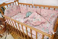 """Комплект постельного белья """"Есо"""" тучка и единорог розовый Добрый Сон"""