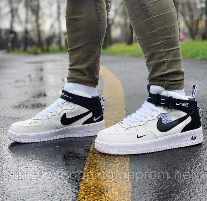 Кроссовки высокие натуральная кожа Nike Air Force Найк Аир Форс (ТОЛЬКО 45 РАЗМЕР)