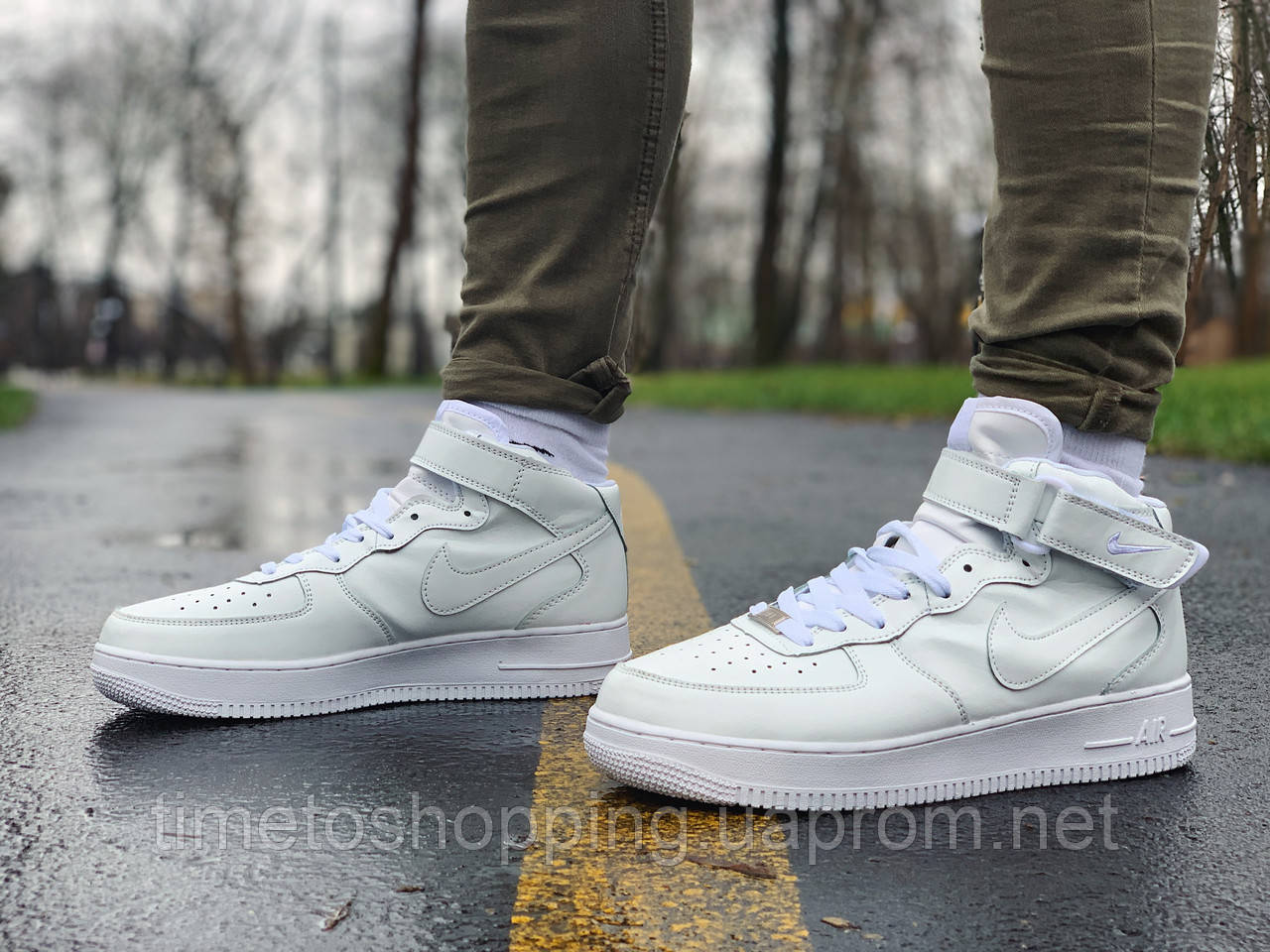 Кроссовки мужские  высокие натуральная кожа Nike Air Force Найк Аир Форс РАЗМЕР (41,44)