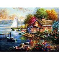"""Картина по номерам на дереве 40*50 """"Домик у озера""""  RSB8184 в подарочной коробке"""
