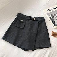 Женская юбка - шорты с ремешком и маленьким карманом 68jus350