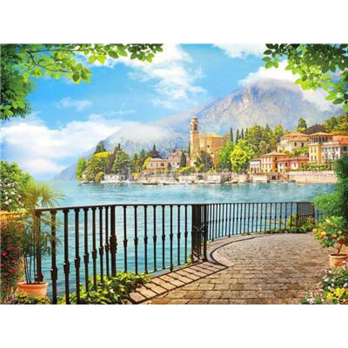 """Картина по номерам на дереве 40*50 """"Город у моря""""  RA3447 в подарочной коробке"""
