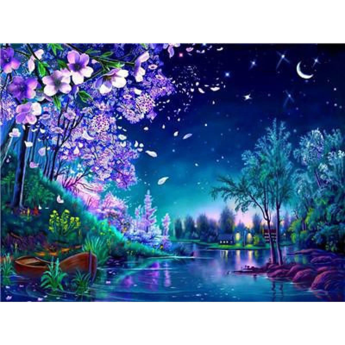 """Картина по номерам на дереве 40*50 """"Весенняя ночь""""  RA3233 в подарочной коробке"""