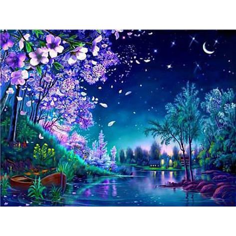 """Картина по номерам на дереве 40*50 """"Весенняя ночь""""  RA3233 в подарочной коробке, фото 2"""