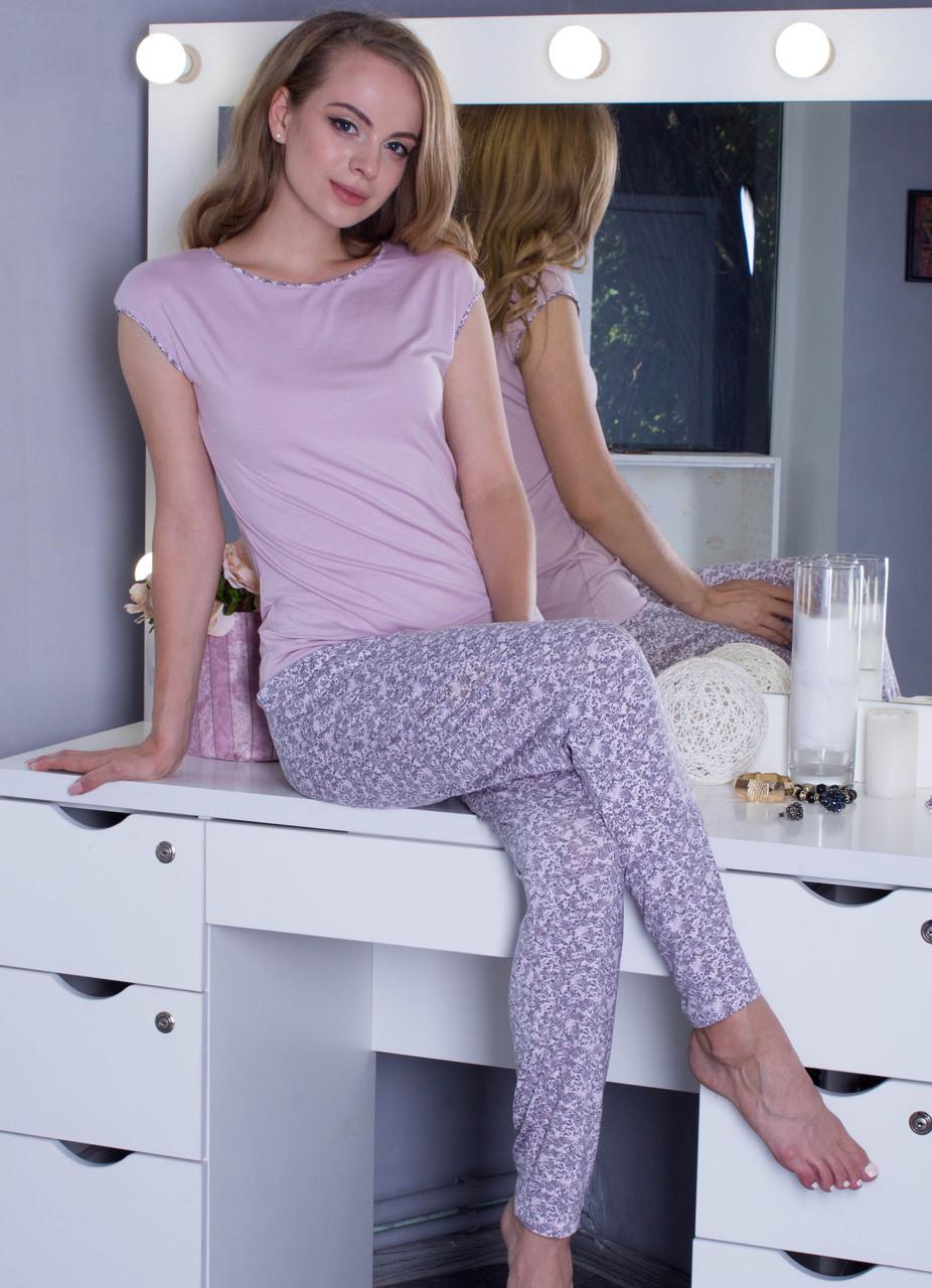 Пижама женская домашняя комлект футболка с брюками, сиреневая