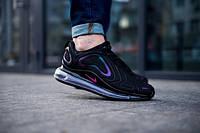 Мужские кроссовки Nike Air Max 720 черные с синим ТОП реплика, фото 1