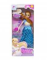 Кукла  Счастливая мама  (платье с бантиками синее)