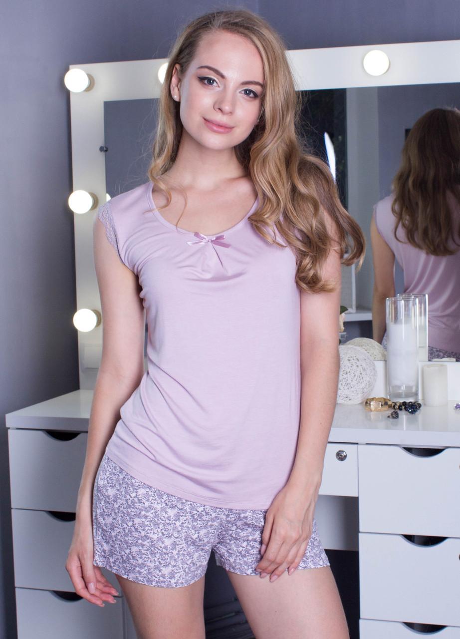 Вискозная пижама женская комплект домашний майка и шорты