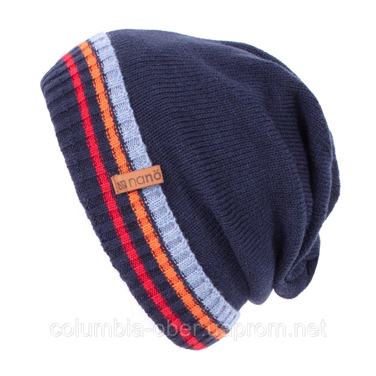 Зимняя шапка для мальчика Nano F19TU253 Marine/Orange. Размер 7/12.