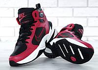 Зимние кроссовки Nike M2K Tekno Winter red/black термо. Живое фото (Реплика ААА+)