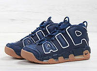 Кроссовки мужские Nike Air More Uptempo 96 в стиле Найк Аптемпо темно синие