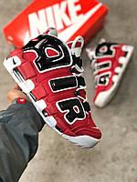 Мужские кроссовки Nike Air More Uptempo, красные с черным (ТОП реплика)