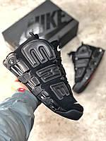 Зимние кроссовки Nike Air More Uptempo черные ( реплика ААА+)