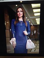 Платье синее эко-замш