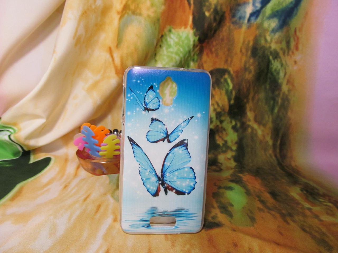 Силиконовый бампер чехол с рисунком для Lenovo S660 Бабочки
