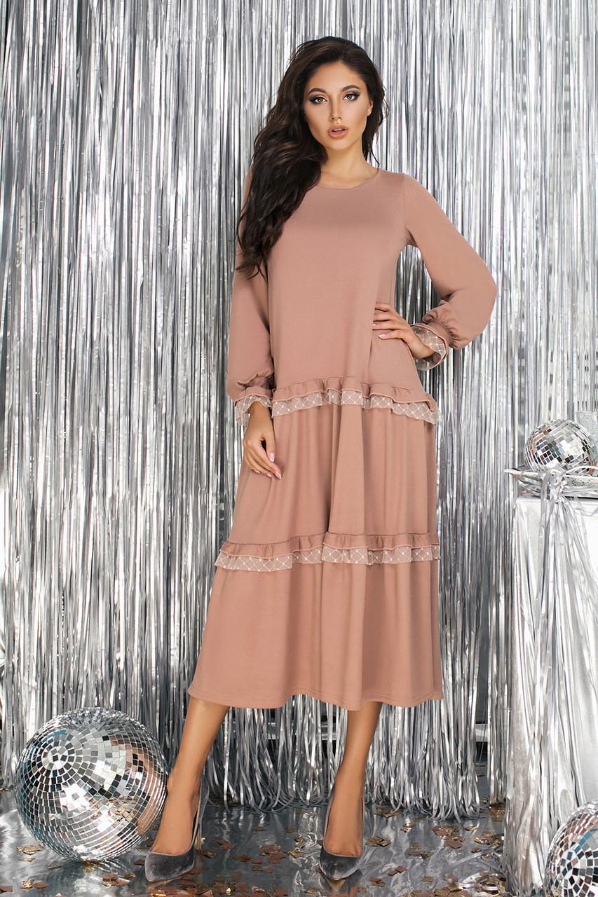 Бежевое трикотажное платье оверсайз
