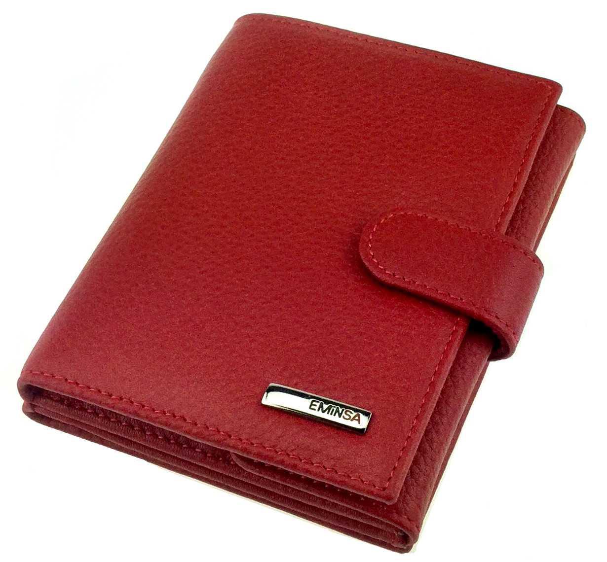 Женский кошелек Eminsa 2034-18-5 кожаный красный на два автономных отделения