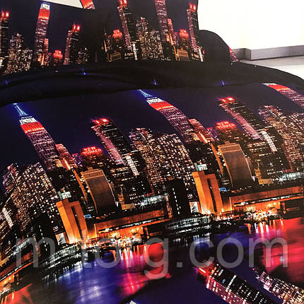 """""""Ночной город"""" Постельное белье 3D эффект евро размер, нав-ки 70/70, фото 2"""