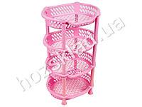 Полка напольная 4 яруса (цвет - розовый) Efe plastics 30х41х70см