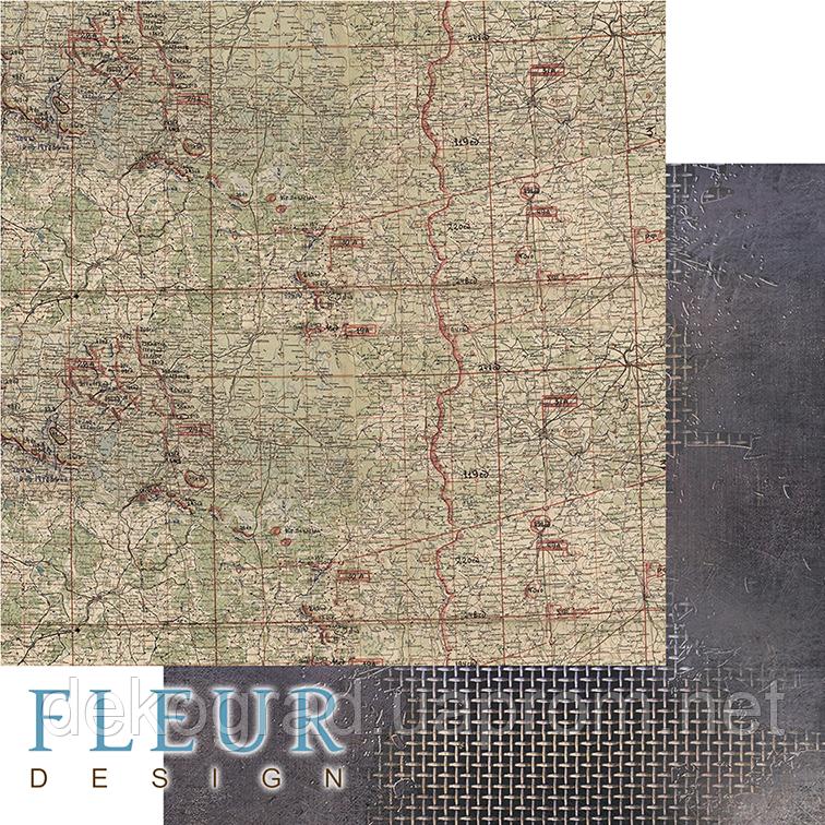 """Лист бумаги для скрапбукинга """"Карта"""", коллекция """"Храбрые сердца"""", 30,5х30,5 см, плотность 190 гр."""