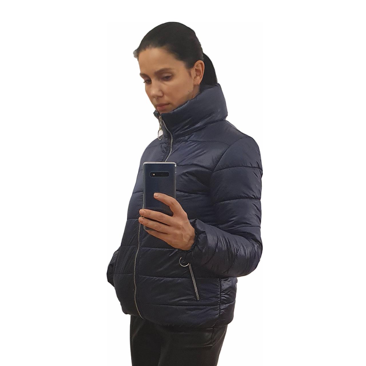 Жіноча демісезонна дута куртка з коміром стійкою і відстібними капюшоном, модель Світу, Чорнильна