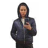 Жіноча демісезонна дута куртка з коміром стійкою і відстібними капюшоном, модель Світу, Чорнильна, фото 4