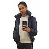 Жіноча демісезонна дута куртка з коміром стійкою і відстібними капюшоном, модель Світу, Чорнильна, фото 2